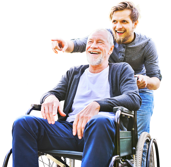 smiling old man with his grandson